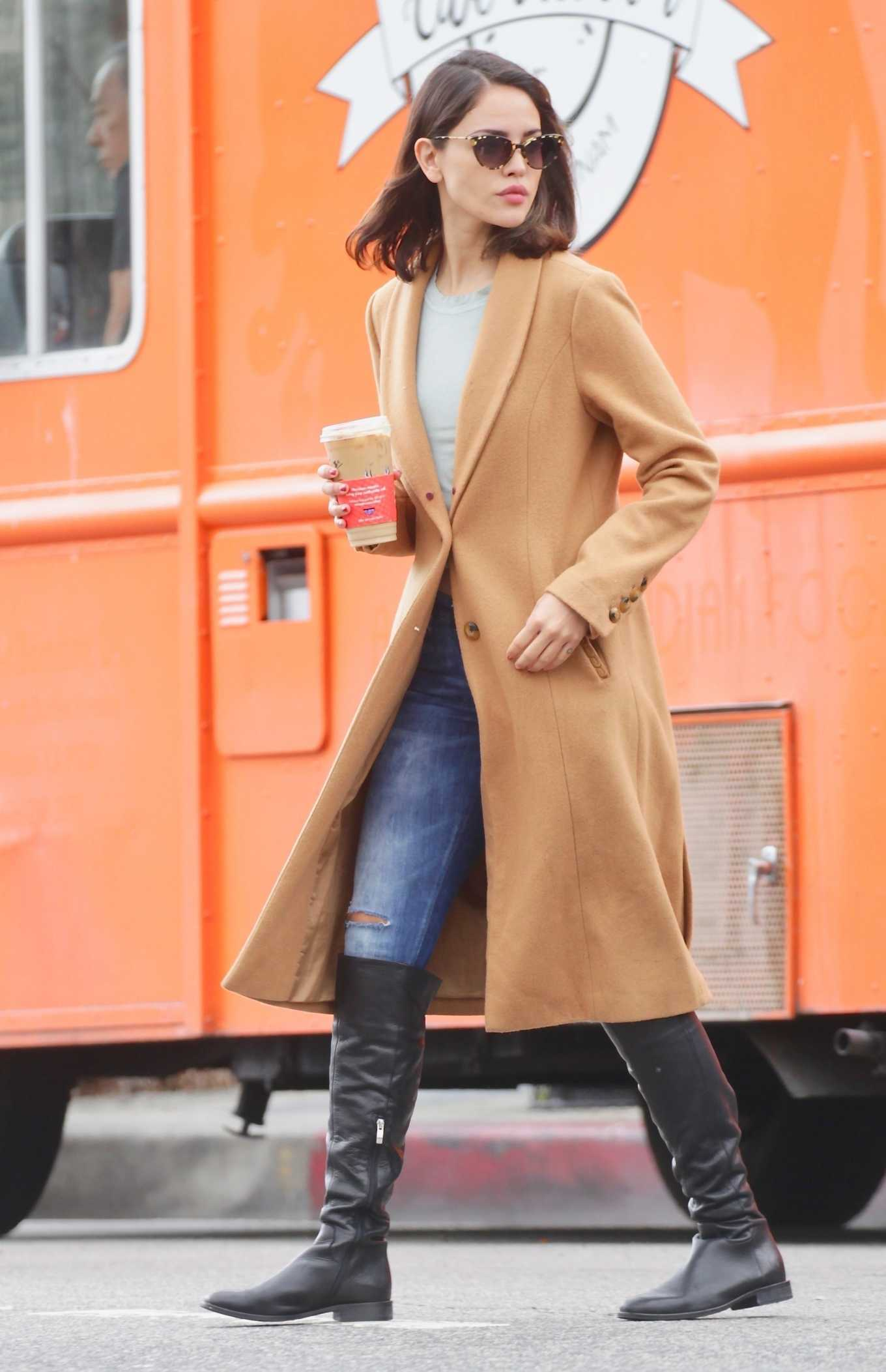 Eiza Gonzalez - Wearing a coat while out in LA