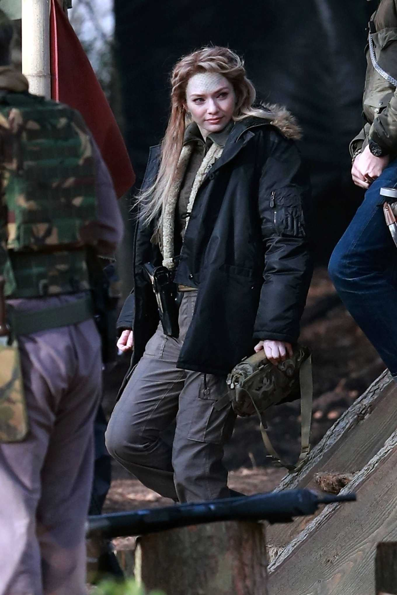 Eleanor Tomlinson 2020 : Eleanor Tomlinson – Filming scenes for the upcoming Sky Drama Intergalactic in Cheshire-01