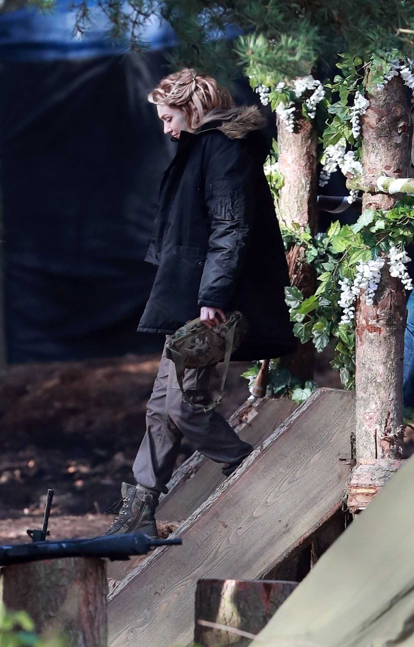 Eleanor Tomlinson 2020 : Eleanor Tomlinson – Filming scenes for the upcoming Sky Drama Intergalactic in Cheshire-04