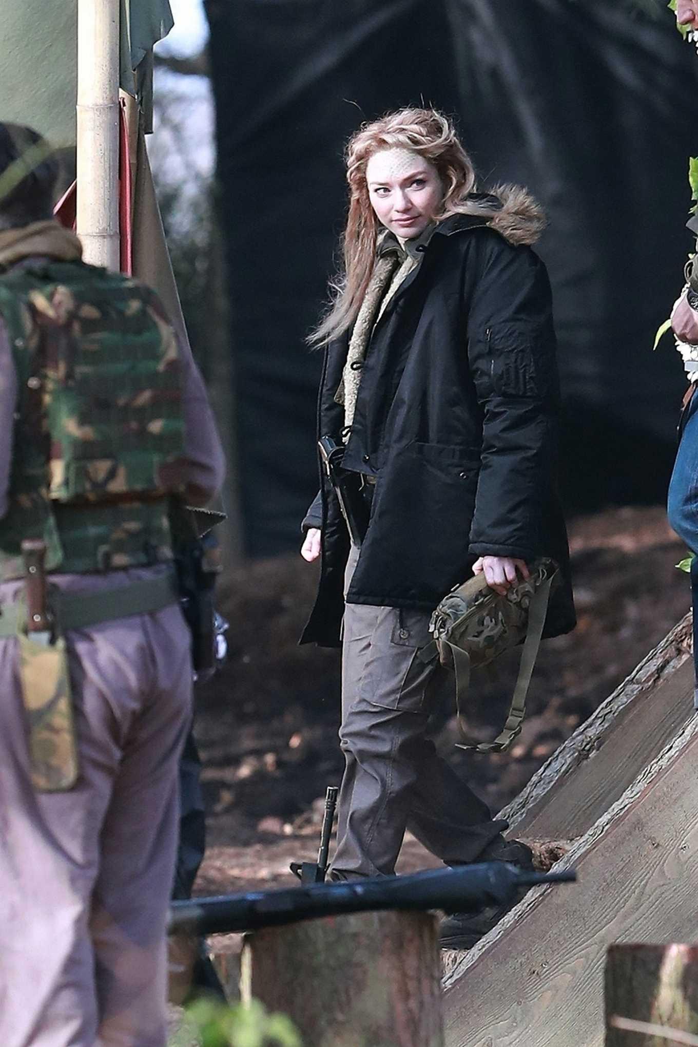 Eleanor Tomlinson 2020 : Eleanor Tomlinson – Filming scenes for the upcoming Sky Drama Intergalactic in Cheshire-09