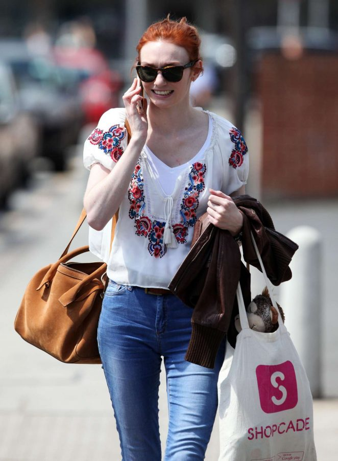 Eleanor Tomlinson in Jeans out in London