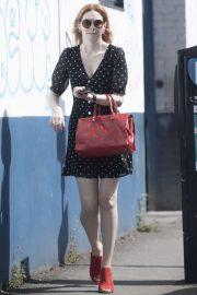 Eleanor Tomlinson in Polka Dot Mini Dress - Out in London