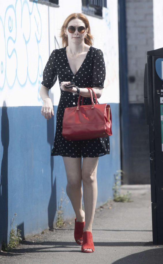 Eleanor Tomlinson in Polka Dot Mini Dress - Out in London
