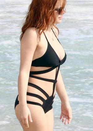 Elena Satine in Black Swimsuit in St. Barts