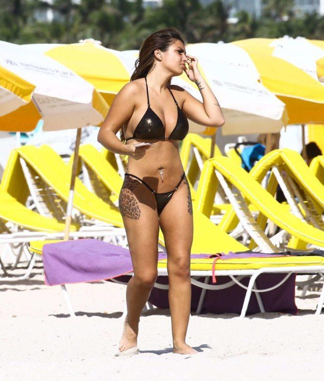 Elettra Lamborghini in Black Bikini on the beach in Miami