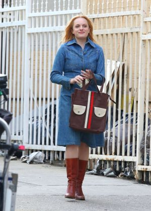 Elisabeth Moss - Filming 'The Kitchen' in New York
