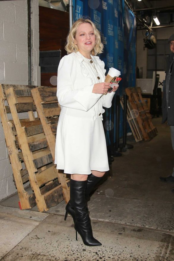 Elisabeth Moss in a White Dress and Black Boots - Promoting the 'Invisible Man' in NY