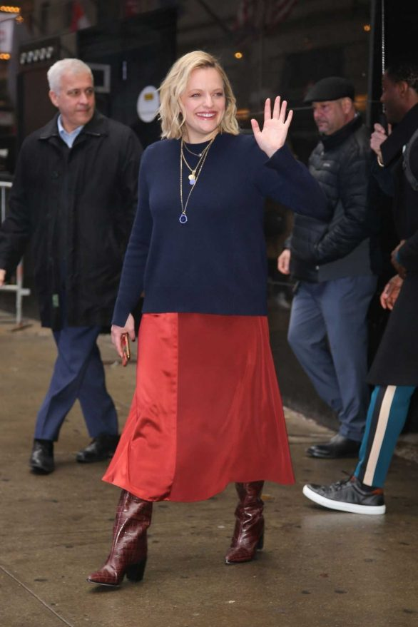 Elisabeth Moss - Leaving the Good Morning America studios in NYC