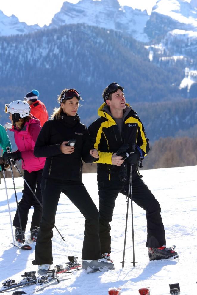 Elisabetta Canalis and Brian Perri Skiing in Cortina DAmpezzo -01