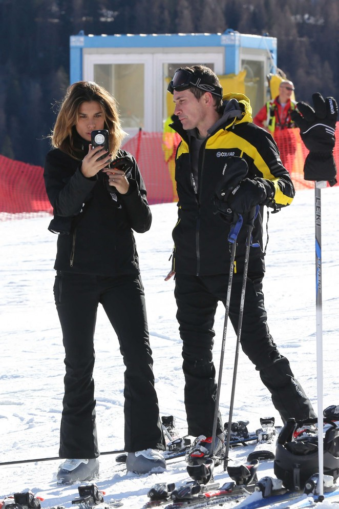 Elisabetta Canalis and Brian Perri Skiing in Cortina D'Ampezzo