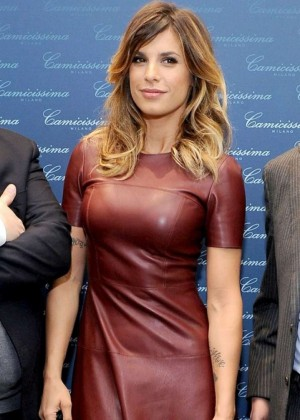 Elisabetta Canalis in Leather Dress Camicissima Store Opening in Milan