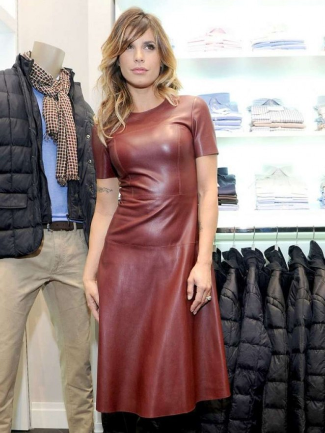 Elisabetta Canalis in Leather Dress -04