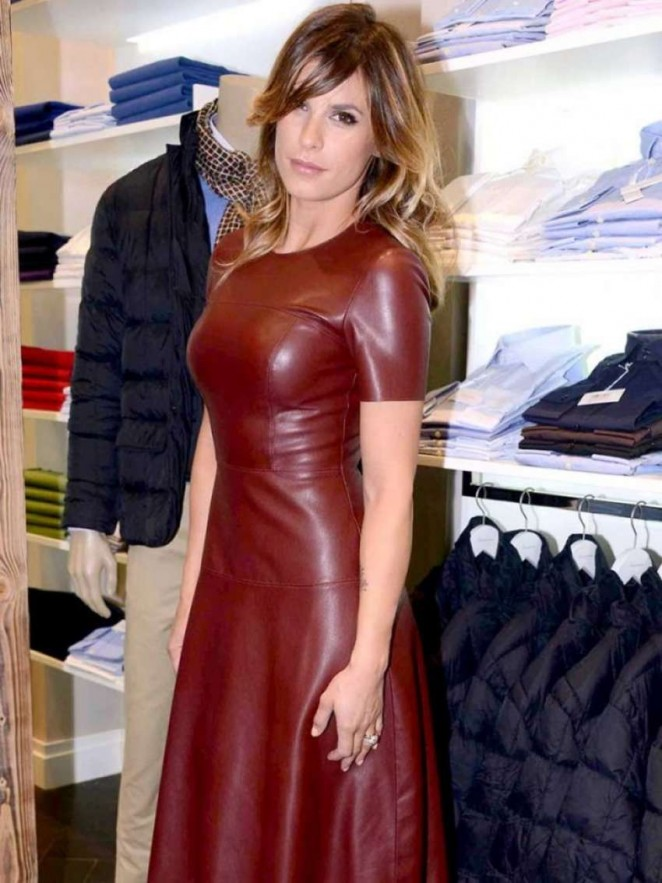 Elisabetta Canalis in Leather Dress -07