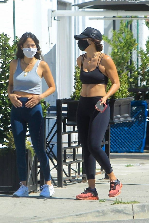Elisabetta Canalis - Goes for a walk with a friend in West Hollywood