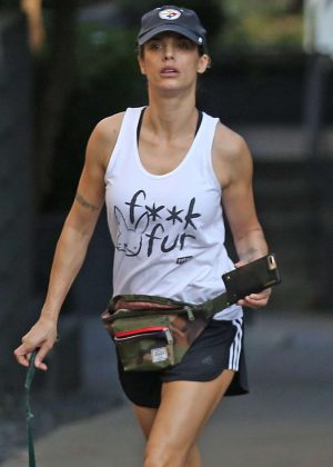 Elisabetta Canalis in Shorts out for a hike at Runyon Canyon in Hollywood