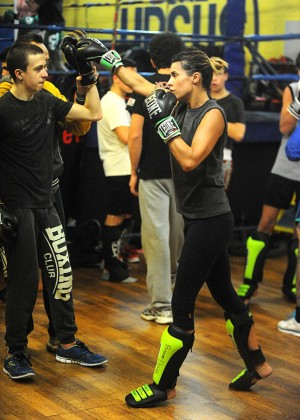 Elisabetta Canalis kickboxing in the gym in Milan