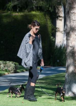 Elisabetta Canalis - Walking Her Dog in LA
