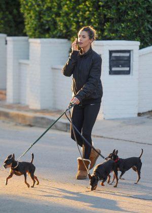 Elisabetta Canalis - Walking her dogs in Beverly Hills
