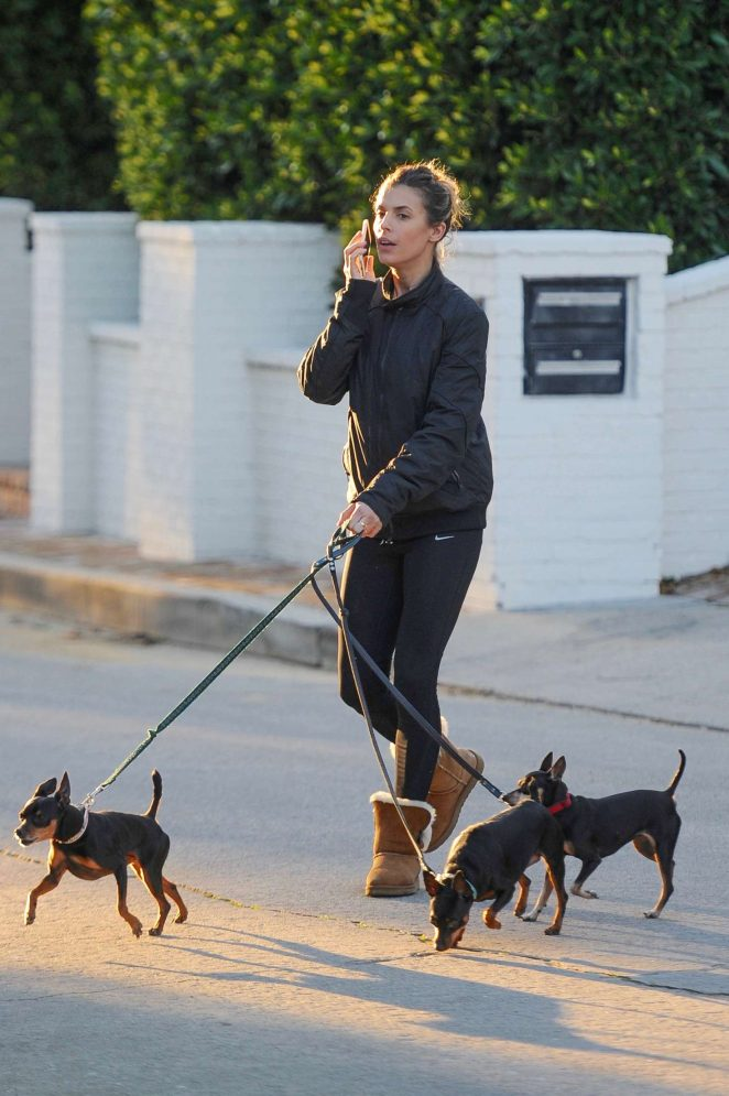 Elisabetta Canalis - Walking her dogs in Beverly Hills