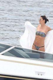Elisabetta Gregoraci in Bikini at a yacht in Monaco