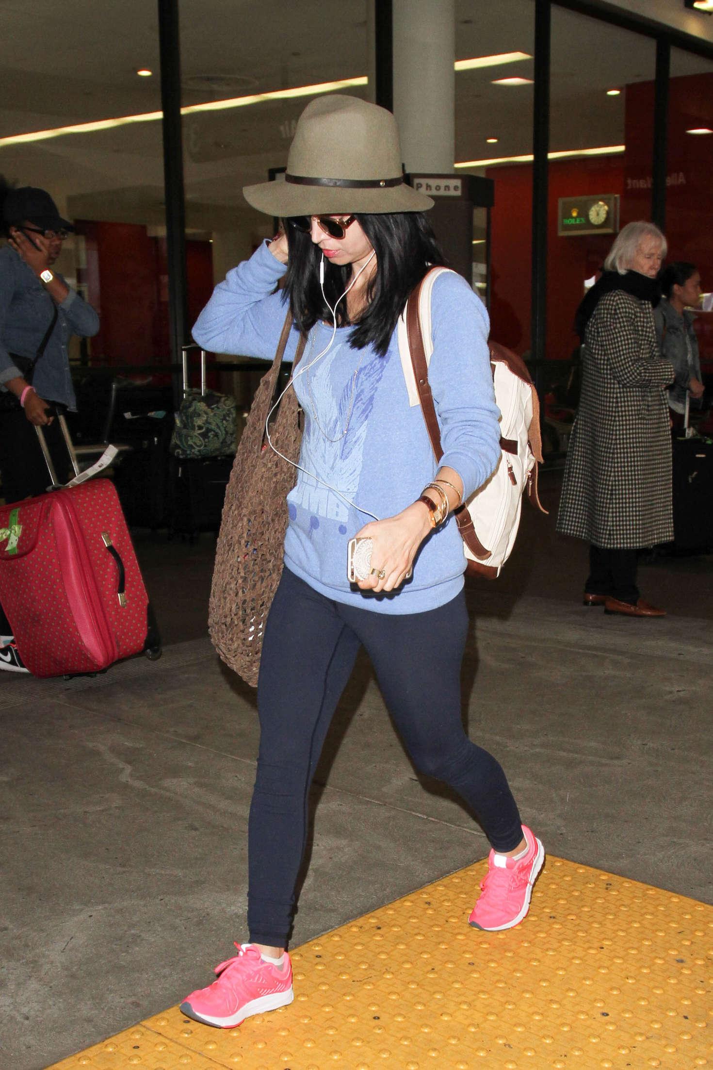 Eliza Dushku in Tights at LAX Airport in LA