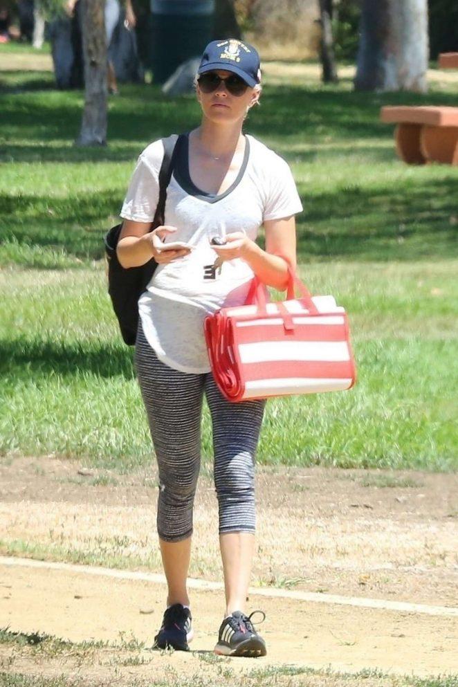 Elizabeth Banks attends her boys soccer game in Los Angeles