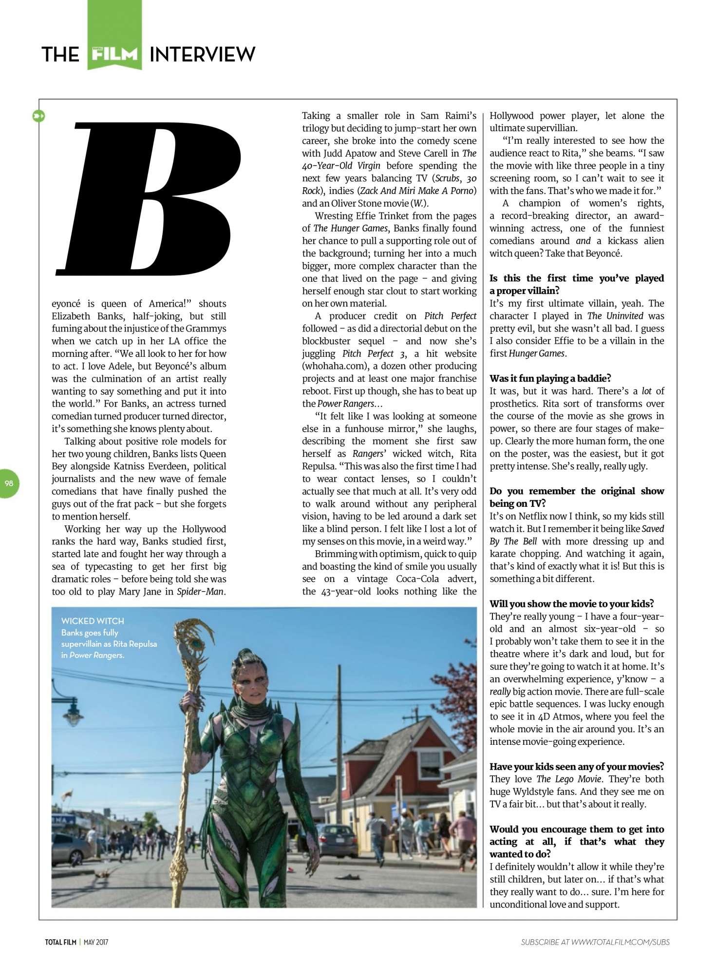 Elizabeth Banks: Total Film Magazine 2017 -06