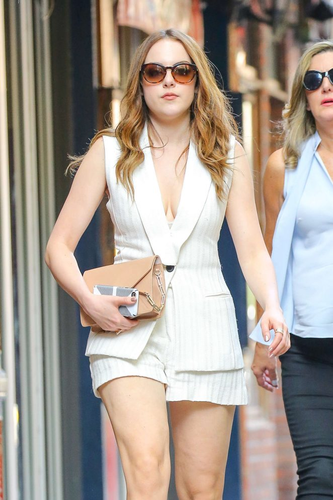 Elizabeth Gillies in Shorts at Chloe Bleecker in New York City