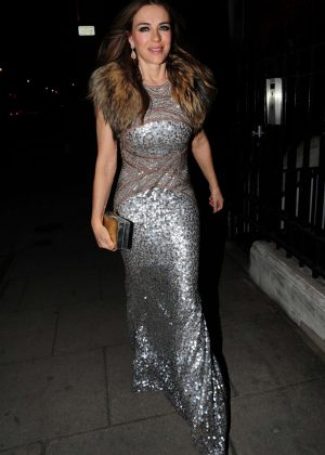 Elizabeth Hurley - Arrives at Heather Kerzner's birthday party in London