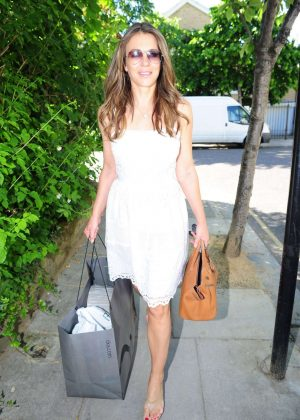 Elizabeth Hurley arriving home from a shopping in London