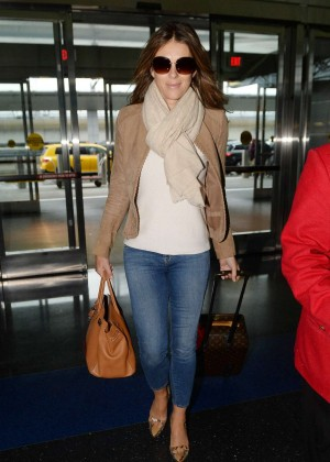 Elizabeth Hurley in Jeans at JFK Airport in NY