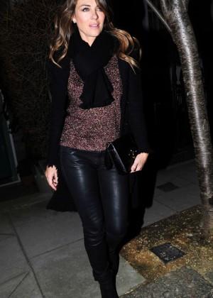 Elizabeth Hurley at the Bulgari Hotel in Knightsbridge