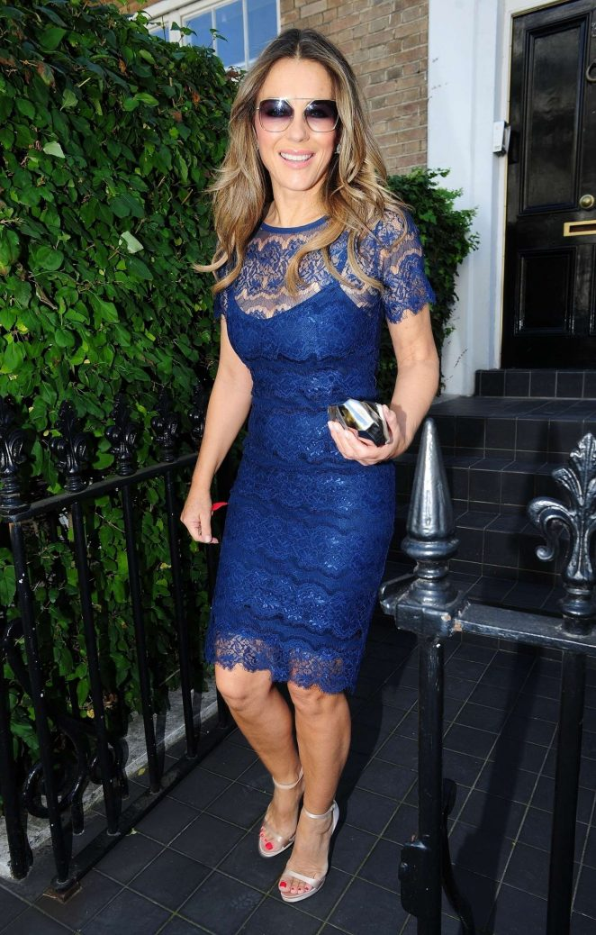 Elizabeth Hurley in a Royal Blue Dress - Leaving her home in West London