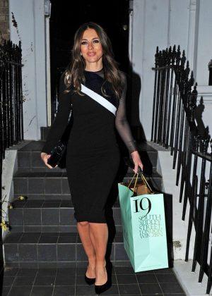 Elizabeth Hurley in Black Dress - Out in London