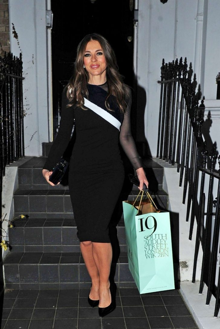 Elizabeth Hurley in Black Dress - Out in London