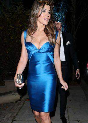 Elizabeth Hurley in Blue Dress out in London