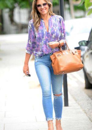 Elizabeth Hurley in Jeans - Returning home in London