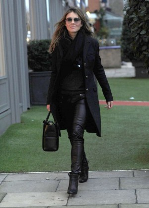 Elizabeth Hurley in Leather Shopping for Antiques in London