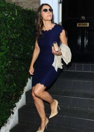 Elizabeth Hurley in Mini Dress out in London