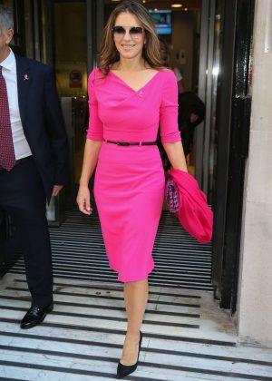 Elizabeth Hurley in Pink Dress at BBC Radio 2 Studios in London