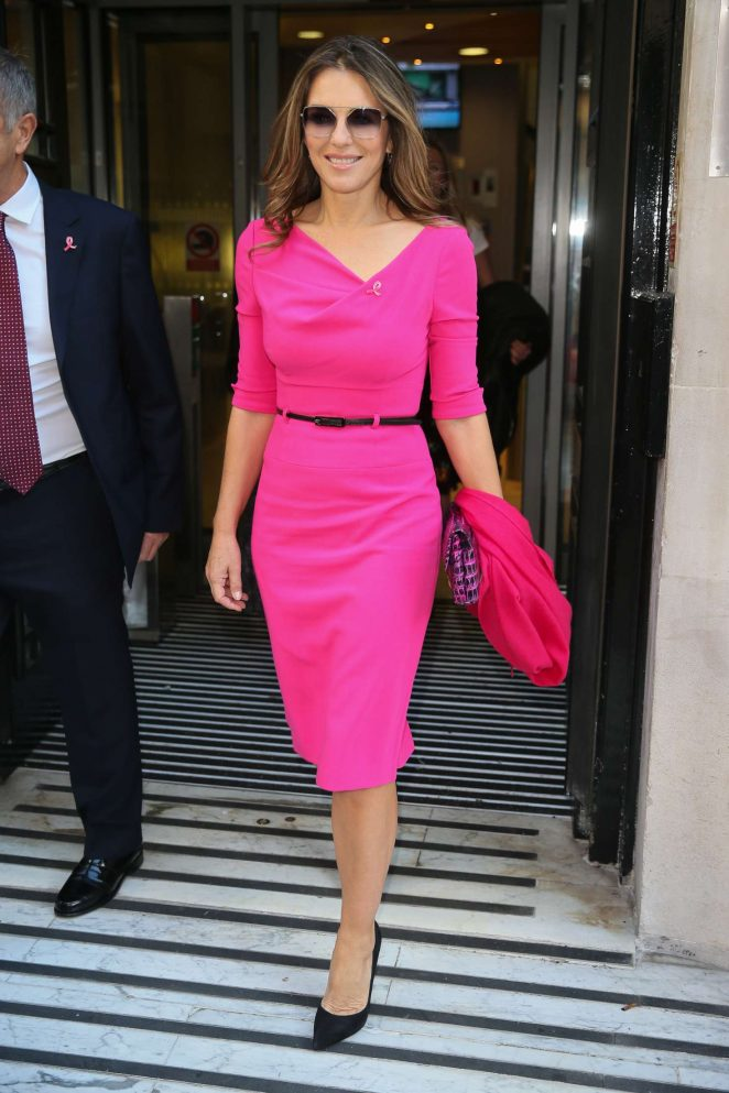 Elizabeth Hurley in Pink Dress at BBC Radio 2 Studios in London