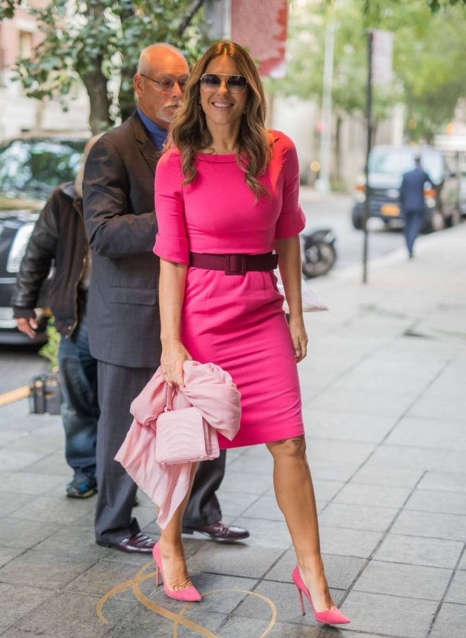 Elizabeth Hurley in Pink - Out in New York City