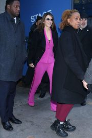 Elizabeth Hurley in Purple Suit - Out in New York