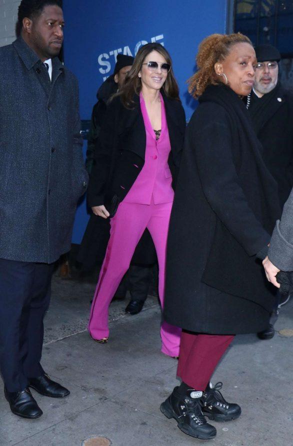 Elizabeth Hurley in Purple Suit - Out in New York