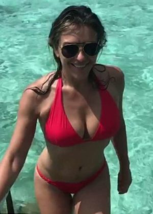 Elizabeth Hurley in Red Bikini - Instagram Photos