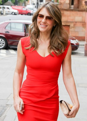 Elizabeth Hurley in Red Dress out in London