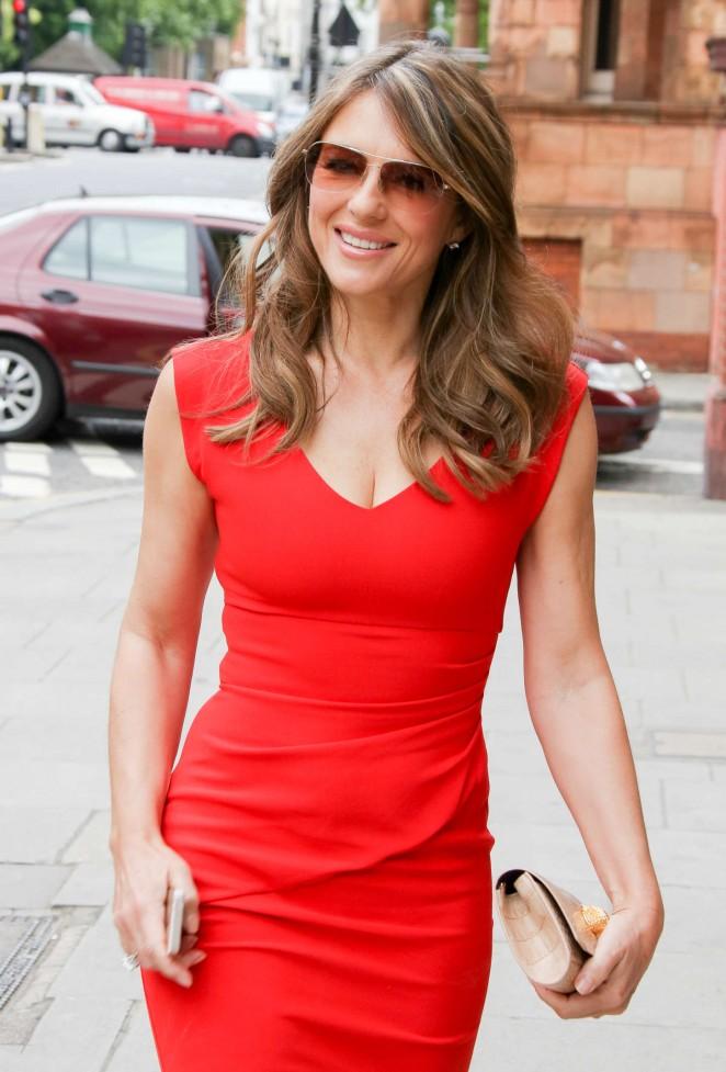 Elizabeth Hurley in Red Dress out in London