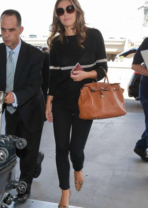 Elizabeth Hurley in Tights at LAX Airport in LA