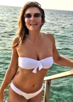 Elizabeth Hurley in White Bikini - Personal Pics