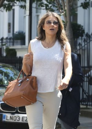 Elizabeth Hurley Leaves her house in London